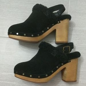 Madewell Lesley Shearling Suede Slingblack Clogs